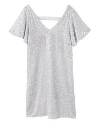 Mango Etoille Jersey Dress Silver