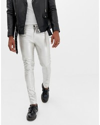 ASOS DESIGN Super Skinny Jeans In Silver Leather Look