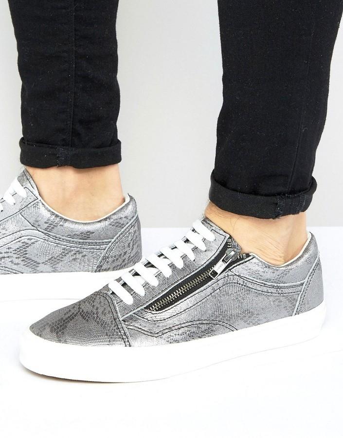 6a3cc35c68 ... Vans Old Skool Metallic Sneakers In Silver Va3493lx9 ...
