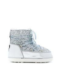 Chiara Ferragni Glitter Lace Up Snow Boots