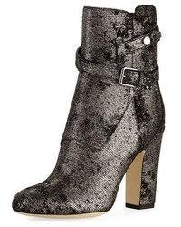 Silver Suede Ankle Boots