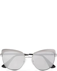 Prada Cat Eye Silver Tone Mirrored Sunglasses