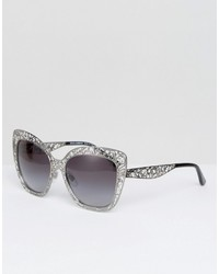 Dolce & Gabbana Cut Out Lace Cat Eye Sunglasses In Silver