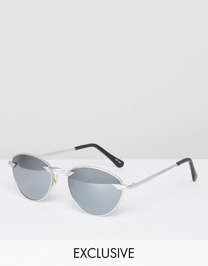 6fcec5407c3bc ... Reclaimed Vintage Round Sunglasses In Silver ...