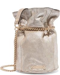 Lanvin Aumoniere Metallic Textured Leather Bucket Bag Silver