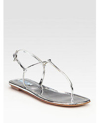 Silver Thong Sandals