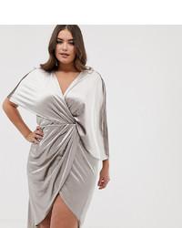 Asos Curve Asos Design Curve Midi Dress In Velvet With Asymmetric Kimono Sleeve