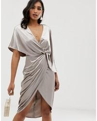 ASOS DESIGN Midi Dress In Velvet With Asymmetric Kimono Sleeve