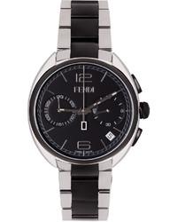 Fendi Silver Black Moto Watch