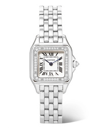 Cartier Panthre De 27mm Medium Stainless And Diamond Watch