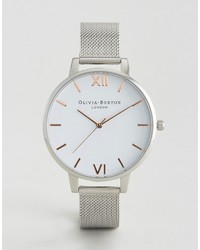 Silver large white dial mesh watch medium 1198424