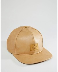 Asos Brand Snapback Cap In Tan Faux Leather