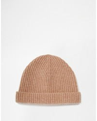Asos Brand Fisherman Beanie In Camel Cashmere