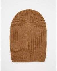 Asos Brand Slouchy Beanie In Camel