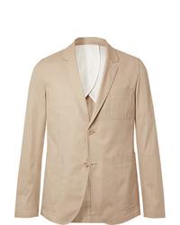 Ami Beige Slim Fit Cotton Twill Suit Jacket