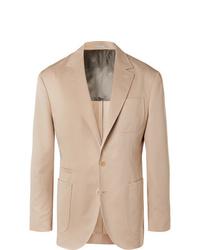 Brunello Cucinelli Beige Wool And Cotton Blend Suit Jacket