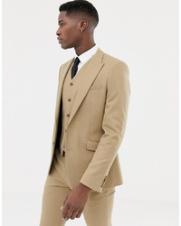 ASOS DESIGN Skinny Suit Jacket In Camel Micro Texture