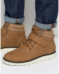 Brave Soul Lace Up Boots With Fleece Lining Tan