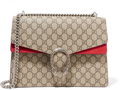 ... Gucci Dionysus Medium Coated Canvas And Suede Shoulder Bag Beige ... fa1a3e06b