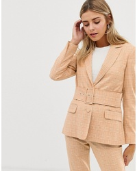 ASOS DESIGN Self Suit Blazer In Mustard Check