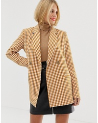 Pieces Oversized Double Breasted Check Blazer