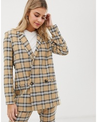 ASOS DESIGN Suit Blazer In Brown Check