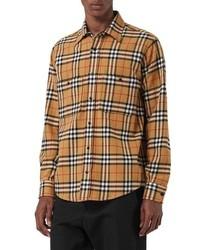 Tan Check Flannel Long Sleeve Shirt
