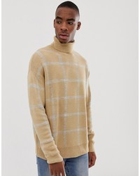 Bershka Knitted Roll Neck Jumper In Camel With Grey Check