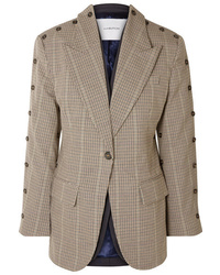 PushBUTTON Convertible Button Embellished Checked Wool Blend Blazer