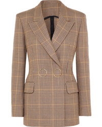 Petar Petrov Double Breasted Checked Wool Blazer
