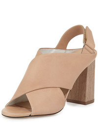 Tan Chunky Leather Heeled Sandals