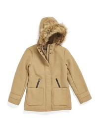 Steve Madden Hooded Coat With Faux Fur Trim