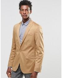 Brand skinny blazer in cotton in camel medium 618648
