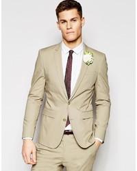 Brand wedding skinny suit jacket in poplin in stone medium 599392