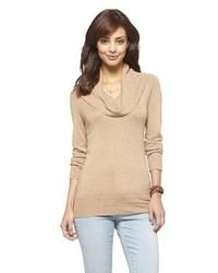 Tan Cowl-neck Sweater