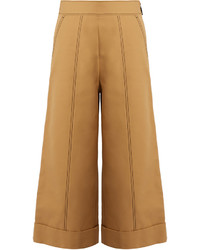 Contrast stitch wide leg cropped trousers medium 1156696