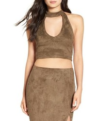 Missguided Faux Suede Cutout Crop Top