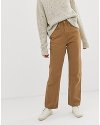 Weekday Row Slim Straight Jeans With Organic Cotton In Camel