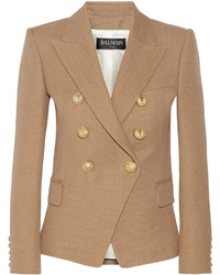 Balmain Double Breasted Basketweave Cotton Blazer