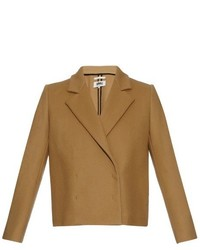 Mm6 By Maison Margiela Double Breasted Coated Wool Blend Blazer