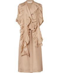 Victoria Beckham Ruffled Silk Trench Coat