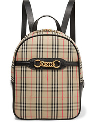 Burberry Embellished Leather And Checked Cotton Drill Backpack
