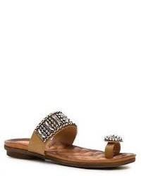 Tan Embellished Leather Flat Sandals