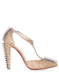 Christian Louboutin Goldostrap 100mm Spike Embellished Leather Pumps
