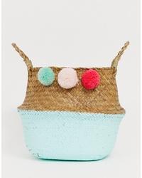 South Beach Foldable Basket Beach Bags With Pom Poms