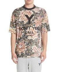 Tan Floral Crew-neck T-shirt