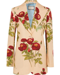 Gucci Floral Print Wool And Mohair Blend Blazer