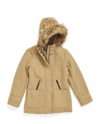 Steve Madden Girls Hooded Coat With Faux Fur Trim