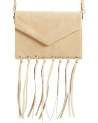 Hobo Maisy Glazed Leather Fringe Crossbody Bag Brown