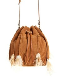 Tan Fringe Suede Bucket Bag